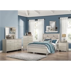 Coaster Lana 5 Piece Upholstered Bedroom Set in Silver