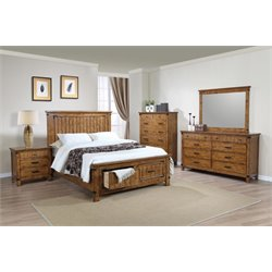 Coaster Brenner 5 Piece Storage Panel Bedroom Set in Honey