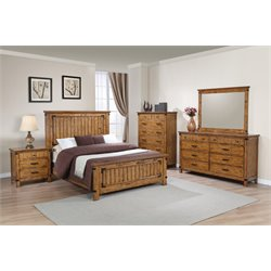 Coaster Brenner 5 Piece Panel Bedroom Set in Natural and Honey