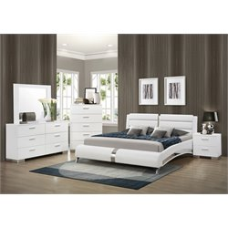 Coaster Felicity 4 Piece Faux Leather Bedroom Set in White