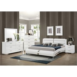 Coaster Felicity 5 Piece Faux Leather Bedroom Set in White