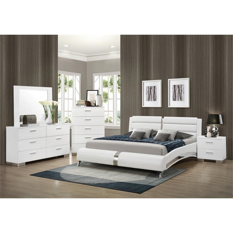 Coaster Felicity 5 Piece Queen Faux Leather Bedroom Set in White