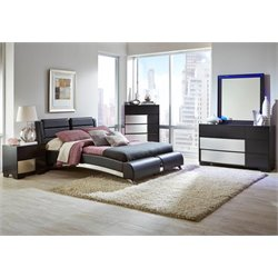 Coaster Jeremaine 5 Piece Upholstered Modern Bedroom Set in Black