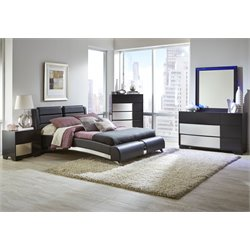 Coaster Jeremaine 4 Piece Upholstered Modern Bedroom Set in Black