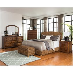 Coaster Laughton 5 Piece Banana Leaf Bedroom Set in Natural