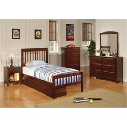 Coaster Parker 4 Piece Twin Slat Bedroom Set in Deep Dark Cappuccino