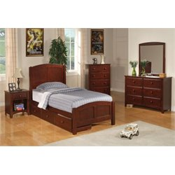 Coaster Parker 4 Piece Twin Panel Bedroom Set in Deep Dark Cappuccino