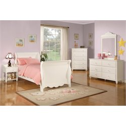 Coaster 5 Piece Sleigh Bedroom Set in White-F