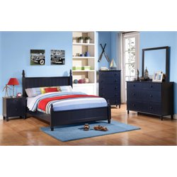 Coaster Zachary 5 Piece Poster Bedroom Set in Navy Blue