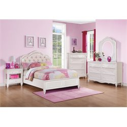 Coaster Caroline 5 Piece Diamond Tufted Bedroom Set in White