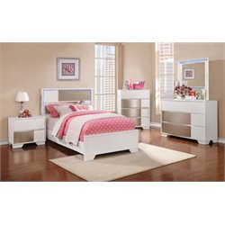 Coaster Havering 4 Piece LED Panel Bedroom Set in Blanco-X