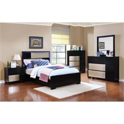 Coaster Havering 4 Piece LED Panel Bedroom Set in Black-X