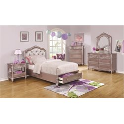 Coaster Caroline 5 Piece Tufted Bedroom Set in Metallic Lilac