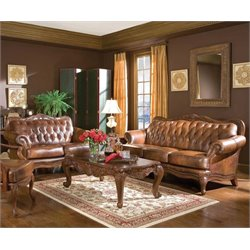 Coaster Vienna 2 Piece Classic Brown Leather Sofa Set