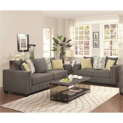 Coaster Kelvington Fabric Sofa Set in Gray