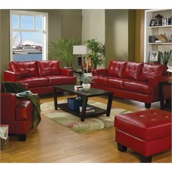 Coaster Samuel 2 Piece Contemporary Leather Sofa Set in Red