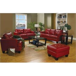 Coaster Samuel 3 Piece Contemporary Leather Sofa Set
