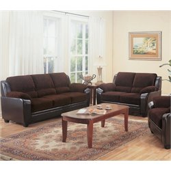 Coaster Monika Stationary Sofa Set in Chocolate