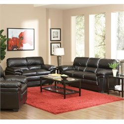 Coaster Fenmore Casual Split Back Leather Sofa Set in Black