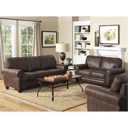 Coaster Bentley Microfiber Sofa Set in Brown