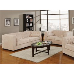 Coaster Alexis Microvelvet Chesterfield Sofa Set in Almond