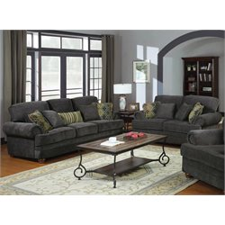 Coaster Colton Traditional Upholstered Sofa Set in Smokey Gray