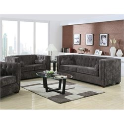Coaster Alexis Microvelvet Chesterfield Sofa Set in Charcoal-N