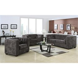 Coaster Alexis 3 Piece Microvelvet Chesterfield Sofa Set in Charcoal