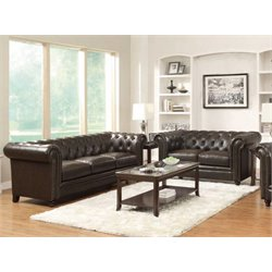 Coaster Faux Leather Button Tufted Sofa Set in Dark Brown-AA