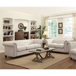 Coaster Fabric Button Tufted Sofa Set in Cream-NN