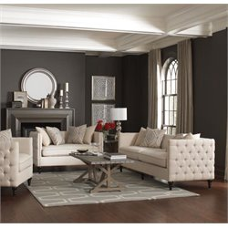 Coaster Claxton Tufted Fabric Sofa Set in Beige