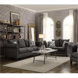 Coaster Emerson Fabric Sofa Set in Gray
