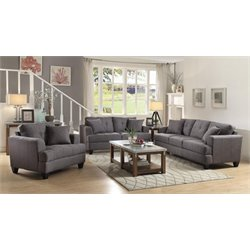 Coaster Samuel 3 Piece Sofa Set in Charcoal