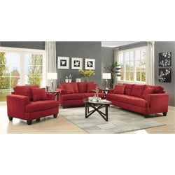Coaster Samuel 3 Piece Sofa Set in Crimson