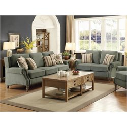 Coaster Rosenberg Rolled Arm Sofa Set in Sage Green