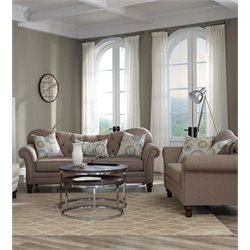 Coaster Carnahan Tufted Back Sofa Set in Camel