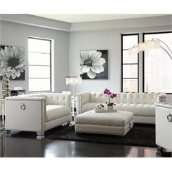 Coaster Chaviano Tufted Sofa Set in White