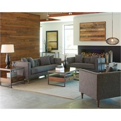 Coaster Ellery Upholstered Sofa Set in Gray