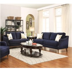Coaster Vessot Upholstered Sofa Set in Blue