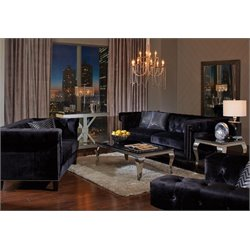 Coaster Reventlow Nailhead Trim Sofa Set in Black