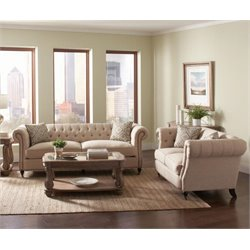 Coaster Trivellato Button Tufted Sofa Set in Oatmeal