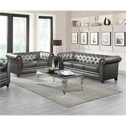 Coaster Roy Faux Leather Tufted Sofa Set in Gunmetal
