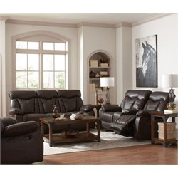 Coaster Zimmerman Faux Leather Reclining Sofa Set in Brown