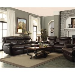 Coaster Macpherson Leather Reclining Sofa Set in Brown-B