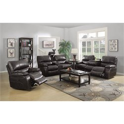Coaster Willemse Sofa Set with Drop Down Table in Chocolate