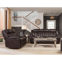 Coaster Bevington Faux Leather Reclining Sofa Set in Black