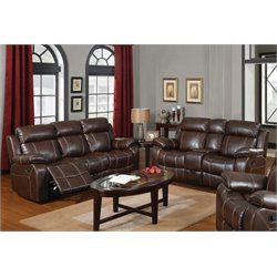 Coaster MyleeneLeather Reclining Sofa Set in Brown