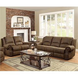 Coaster Rawlinson Microfiber Reclining Sofa Set in Brown