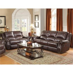 Coaster Rawlinson Faux Leather Reclining Sofa Set in Tobacco