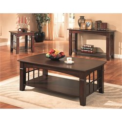 Coaster Abernathy 3 Piece Coffee Table Set in Cherry